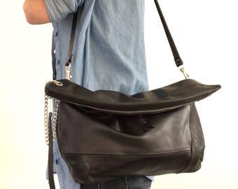 Black leather clutch, crossbody bag, shoulder bag