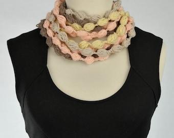 Crochet wool neck warmer scarf