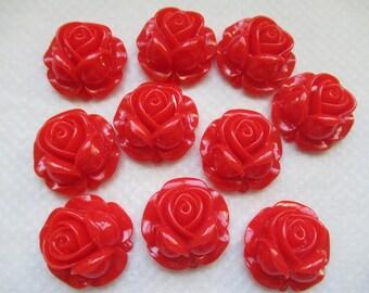 CAMEES ROSES ROUGES magnifique lot de 10 camées roses fleurs en résine couleur rouge a coller sur tous supports