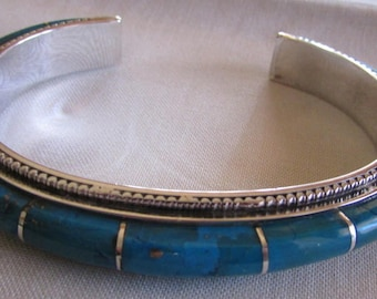 Sterling Silver and Block Turquoise Inlay Cuff Bracelet