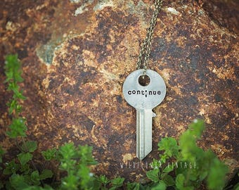 Semicolon Continue Key Necklace   Custom Hand Stamped Jewelry Mental Health Awareness