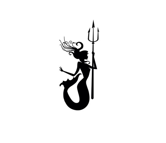 Cute Mermaid Trident On Cliff Stock Vector 93054814 - Shutterstock