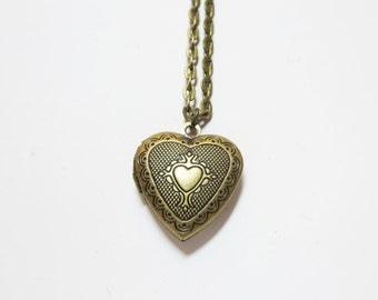 Wedding gift -Heart necklace -Bronze Heart Locket Necklace-gift for her - Mothers Day Locket, Victorian Locket, Secret Locket,  Shabby Chic