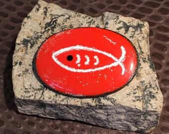 60's artisan enameled fish on copper