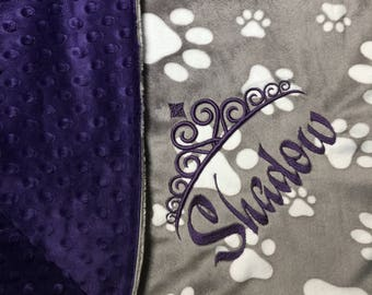 Purple Princess Baby Blanket Princess Stroller Blanket Eggplant Purple Gray Paws Print Princess Blanket Crown Queen King All sizes All color