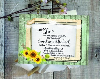 Digital Wedding Invitation - Rustic - Wood - Lights - Lace - Sunflower - Floral - Frame - Printable - Personalized - 005
