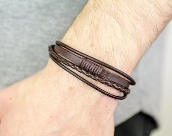 Mens Leather Bracelet, Layer Bracelet, Rope Bracelet, Leather Bracelet, Men Leather Bracelet, Mens Bracelet, Men Bracelet, Boyfriend Gift,