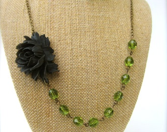 Black Flower Necklace Green Necklace Bridesmaid Jewelry Statement Necklace Floral Necklace Green Wedding Jewelry