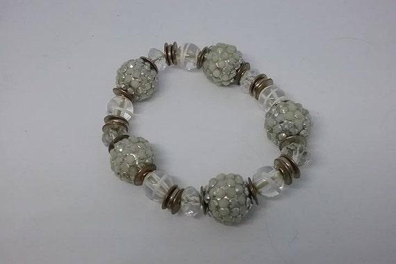 Stretch Acrylic Bead Bracelet, White Bead Bracelet, White and Clear Stretch Bead Bracelet, Glass and Acrylic Bead Stretch Bracelet, White