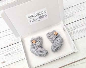 great-grandma to be, pregnancy baby announcement, crochet baby booties, baby reveal, gender neutral baby