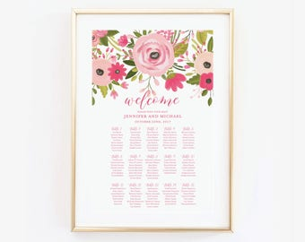 Wedding Seating Chart, Seating Plan, Table Chart, Seating Chart Sign, Large Seating Chart Wedding Sign, Canvas or Large Art Print #CL333