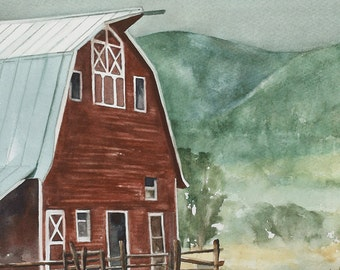 4th of July decor 4th July patriotic decor landscape painting watercolor painting of barn PRINT barn art print western cowboy red urban chic