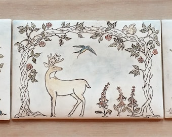 Handmade ceramic mural for wall hanging or installation