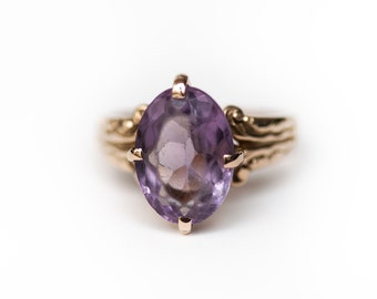 Victorian Ring, Amethyst Ring, Victorian Amethyst Ring, Purple Vintage Ring, Yellow Gold Amethyst Ring, Lavender Vintage Ring