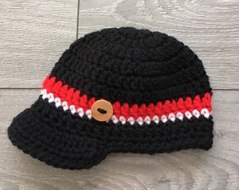 Ready to Ship - Crochet Hat with Brim & Wooden Button - Newborn Size