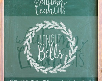 Jingle Bells Christmas Wreath, Hand Lettered - SVG, PNG, Jpeg, DXF cut file for Silhouette, Cricut - Instant Download Clipart - Hand Drawn