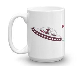 Spaceship Coffee Mug - 15 oz - Alien Coffee Mug - Spacemen Coffee Mug