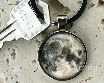 Full moon keychain, key chain, key ring, key fob, moon keychain, full moon key chain, gift, moon, gift for man or woman, full moon SP120K