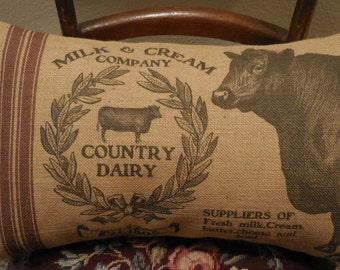 Feedsack Cow Burlap Pillow, 13 x 21 Lumbar pillow, Farm12,  Shabby Chic,  Farmhouse Pillows,  INSERT INCLUDED