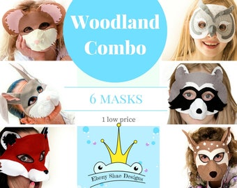 Woodland animal mask PATTERN collection. Mouse Mask, Fox Mask, Owl Mask, Raccoon Mask, and Deer Kids Costume Patterns.