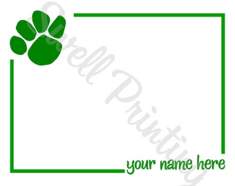 10 Personalized Paw Print Notecards Green Paw Print stationery