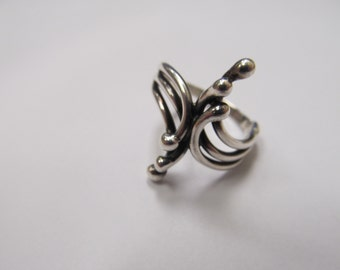 Vintage Sterling Silver Hand Crafted Modernist Ring Item W # 65
