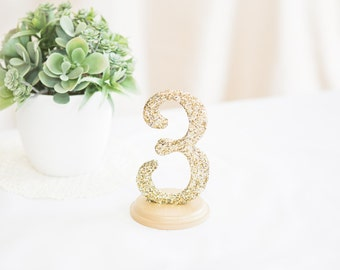 Glitter Table Numbers Gold or Silver Glitter Table Numbers for Wedding Reception, Number Signs (Item - GLI120)