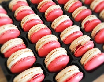 Ivory and Red, Party favours, French macarons, Wedding favours, Gluten free, Macaroons, Dessert table, Macaron Tower, Birthday gift,