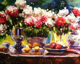 ROSES REFLECTIONS, Digital Art Print of Original Oil Painting, Roses and Fruit still life