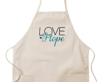 Mother's Day Love Hope Apron, Love Apron, Hope Apron, Hope Product, Apron, embroidered apron, White embroidered apron, Hope, wedding gift!