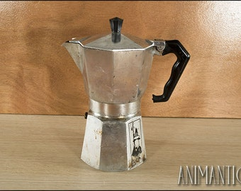 BIALETTI COFFEE MACHINE Mid Century Stove Top Espresso Coffee Percolator Vintage Italian Made in Italy ***not working - decor only***