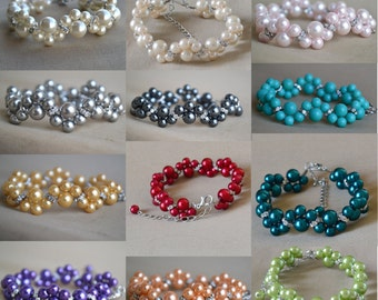 Custom wedding bracelet,  rhinestone bracelet, 20 colors can be choice,glass pearl bracelet, bride bracelet,bridesmaid bracelet,Select color