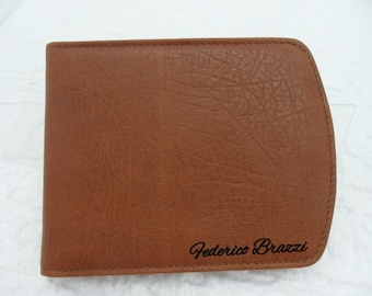 Small wallet for man and boys, handmade Made in Italy, Genuine Leather,  Engraving of your initials or your name