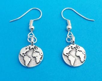 globe earrings, earth earrings, world earrings, wanderlust earrings, globe jewelry, gift for traveler, traveler gift, travel gift, earth