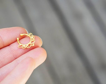 Faux gold Septum Ring. tribal septum ring. septum ring. faux septum. fake septum. septum jewelry. faux septum ring.