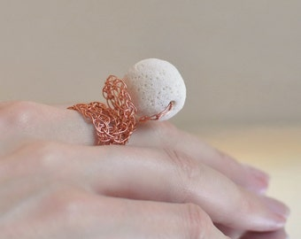 Ring - wire crochet coctail ring crochet copper lace with snowy white volcanic lava wearable art - Primeval Elements - 8.5 ready to ship