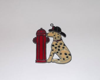 Firefighter Dalmatian & Fire Hydrant Stained Glass Window Decor Suncatcher