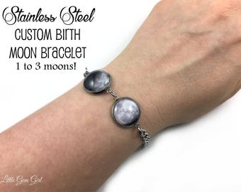 Stainless Steel Custom Moon Date Bracelet with 1 to 3 Moons - Personalized Birth Moon Phase Bracelet Birthday Moon Jewelry Birth Moon Charm