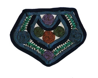 """4"""" Victorian Edwardian Silk Cording and Metallic Bullion Applique Patch, Vintage Sewing Supply, 1890-1910"""