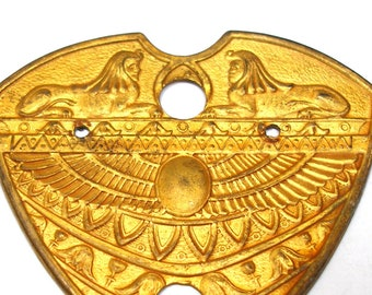 1920s Egyptian Revival brass stamping. Art Deco dress trim with Sphinx.
