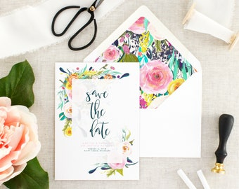 Floral Save the Date - Save the Dates Printed Cards - Pink Save the Date Cards - Watercolor Save the Date - Wedding Announcement - Set of 10