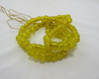 Translucent Yellow Glass Crow Beads, Pony Beads, 9 mm Beads, 9 mm diameter x 6 mm thick with a 4 mm hole, Bead Strand, 100 Beads #81