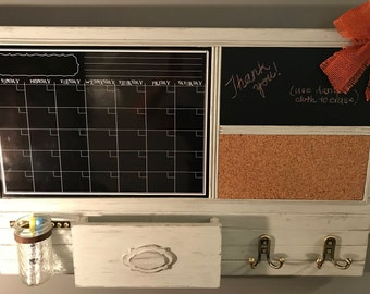 Ultimate Command Center: Large Chalkboard Calendar, Chalk Message Board, Cork Board, Key Hooks and Mail Holder