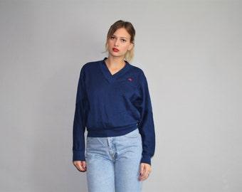 Designer Vintage 80s Oscar De La Renta Navy Sweatshirt  - Vintage Oscar De La Renta  -  W00302