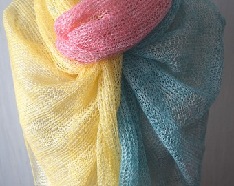 Linen Scarf Shawl Lace Scarf Knitted Natural Summer Wrap Mint Green Pink Yellow White