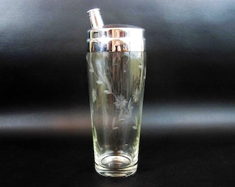 Vintage Glass Cocktail Shaker with Hand Etched Filigree. Circa 1960's.