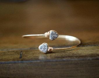 Druzy Geometric Bracelet , Bezel Wrapped Bangle in 14k Gold Fill , Platinum Gray Triangle Druzy Wrap Style ,  Modern Fashion