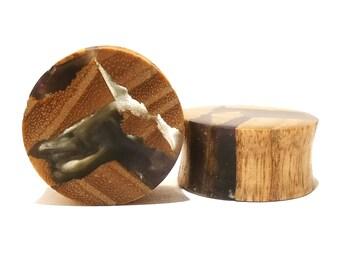 20mm pair, M99 handmade warlocks, wood plugs, gauges, custom plugs, gauges, tunnels, (one of a kind pair)