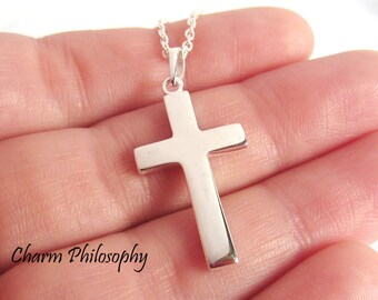 Plain Cross Necklace - 925 Sterling Silver Jewelry - Suitable as Men's Jewelry