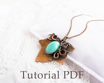 Tutorial jewelry DIY project - Leaf pendant - Bezel for cabochon - Tutorial wire wrap - Copper soldering